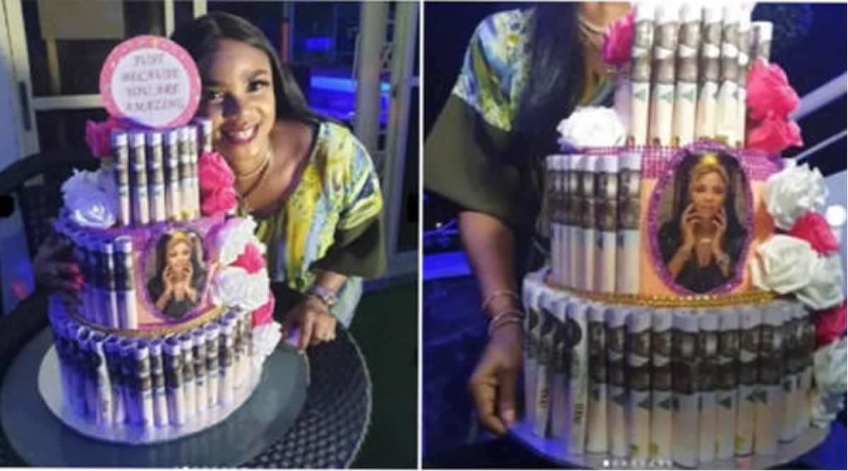 Iyabo Ojo Gets Surprise Money Cake From a Fan